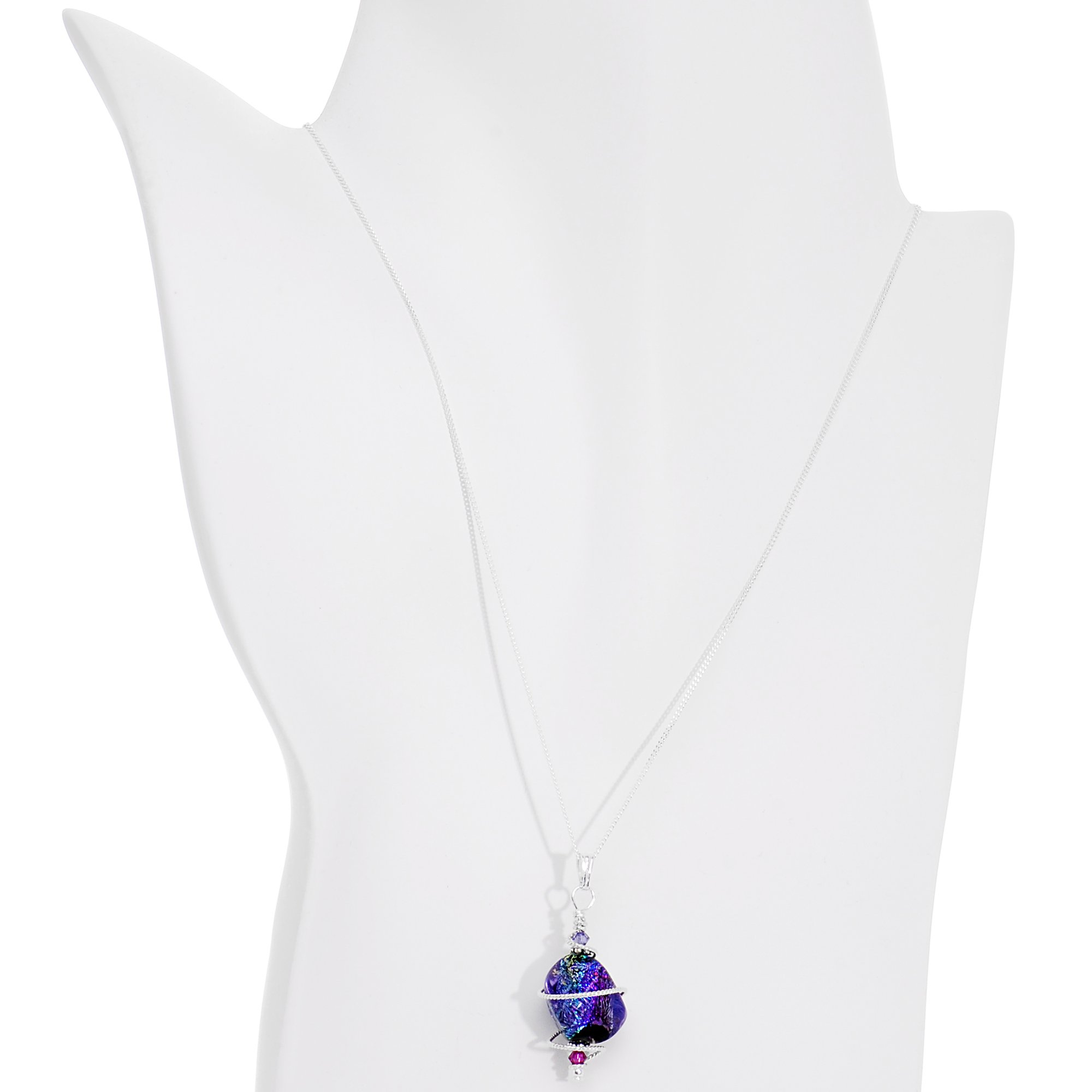Body Candy Sterling Chain Space Goddess Pendant Necklace Created with Swarovski Crystals 18''