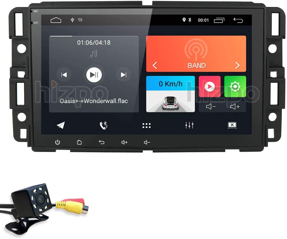 hizpo Android 10 Double Din 8 Inch Car Stereo Supports Bluetooth Mirror-Link DSP WiFi Radio Steering Wheel Control for GMC Sierra Hybrid Buick + Rear View Camera