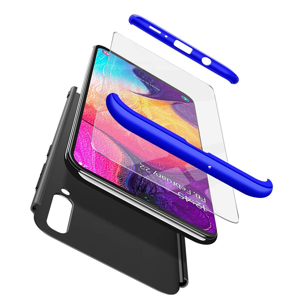 Ultra Slim Coque Plastique Souple 360 Degres Full Body Verre Tremp/é Rigide PC Dur 3 in 1 Ultra Mince Antichoc Coque pour Samsung Galaxy A50-Noir SainCat Coque Galaxy A50