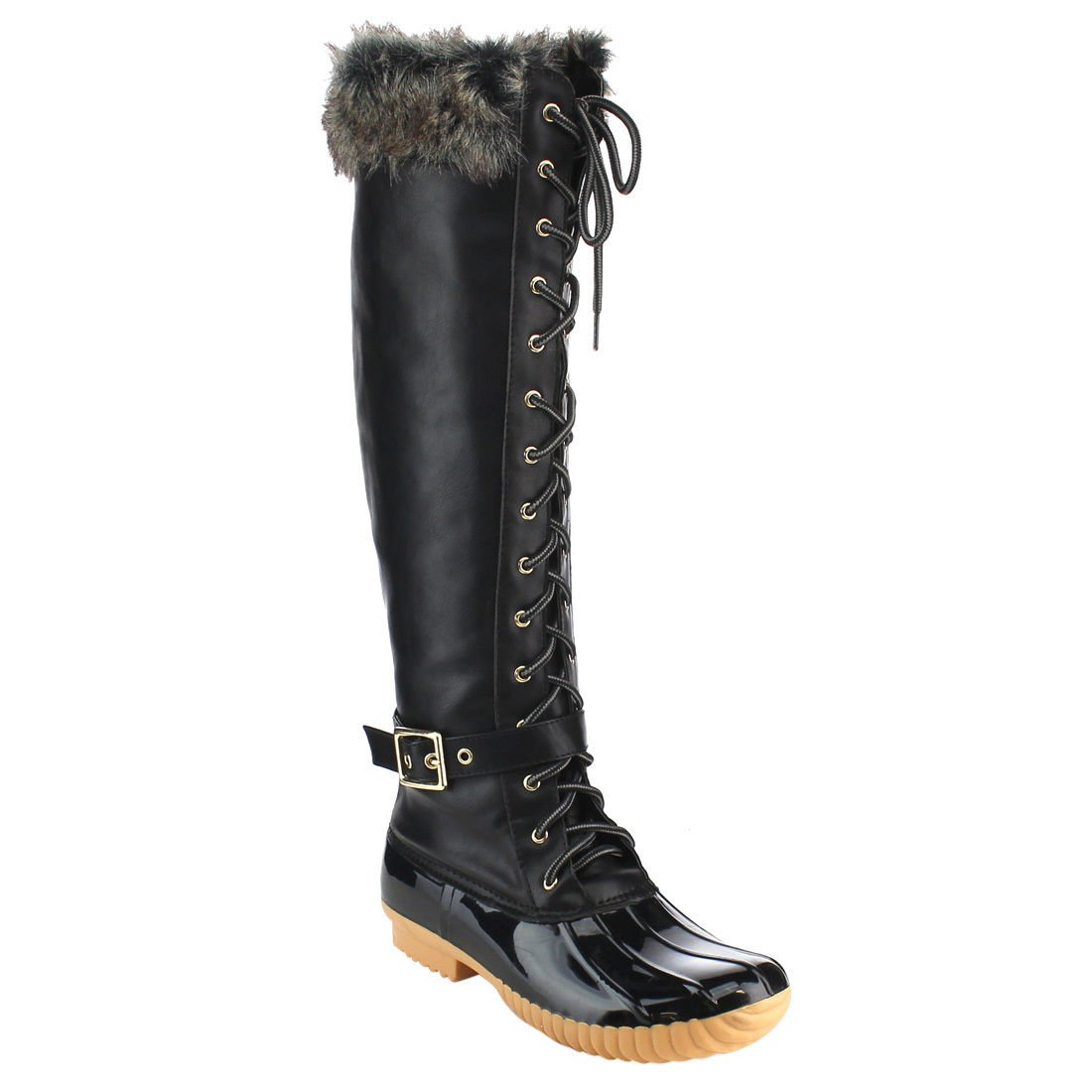 Women's Knee High Winter Boots Lace up Insulated Fur Cuff Trim Waterproof Rubber Sole Duck Snow Rain Shoe Boots B074FTSF9H 5.5 B(M) US|Black Pvc