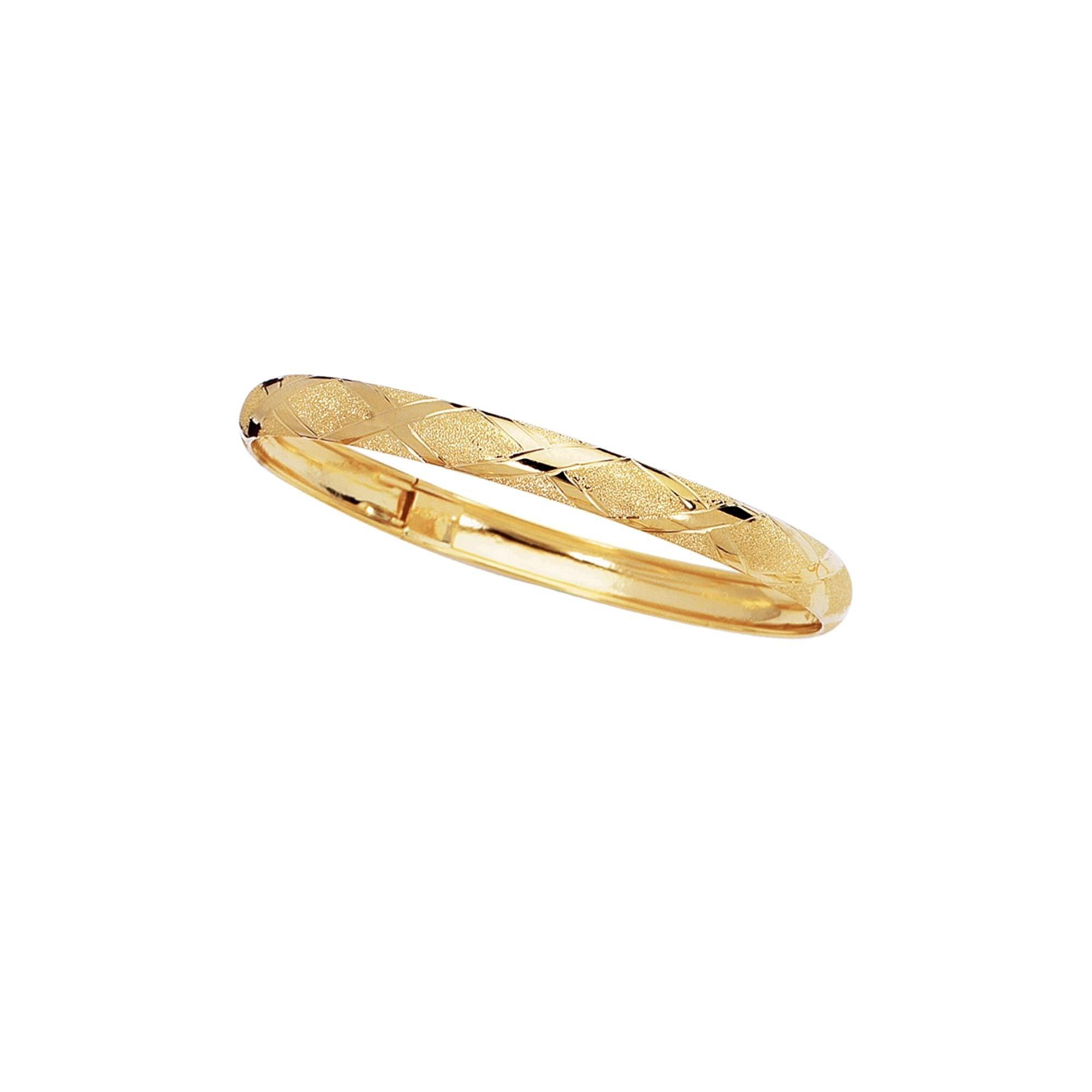 10K 8'' Yellow Gold 6.0mm Shiny Textured Flex Bangle with Diamond Shape Pattern