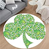 Nalahome Modern Flannel Microfiber Non-Slip Machine Washable Round Area Rug-mrock Figure Made with Small Clover Patterns Holy Trinity Symbol Graphic Work Green White area rugs Home Decor-Round 67''