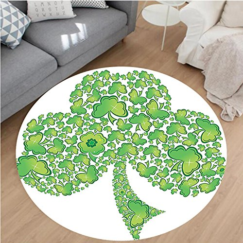 Nalahome Modern Flannel Microfiber Non-Slip Machine Washable Round Area Rug-mrock Figure Made with Small Clover Patterns Holy Trinity Symbol Graphic Work Green White area rugs Home Decor-Round 67'' by Nalahome