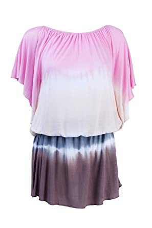 83dc9f9f4f South Beach Womens Cover Up Tunic Top Tie Dye Short Summer Dress  Pink/Yellow/