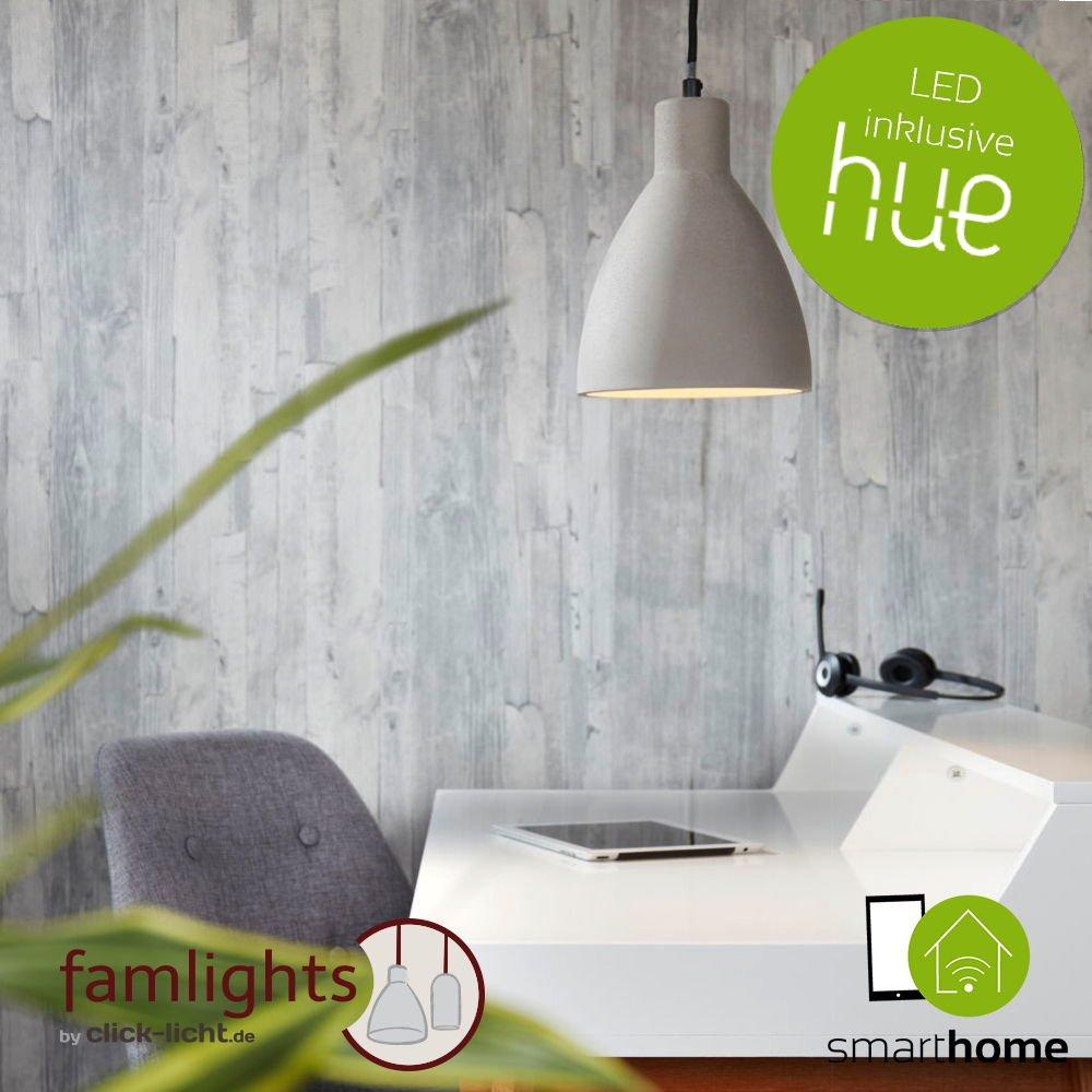 Beton Pendelleuchte JUDITH runde Hängeleuchte E27 Pendellampe mit Philips Hue LED Weiß Ambiance & Farbe + Bridge