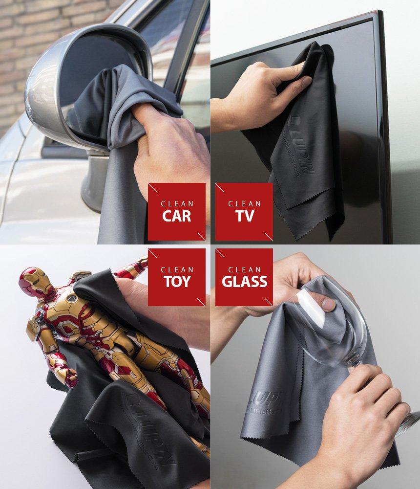 Lupin Bayeta de Limpieza de Microfibra [Grande 4 Pack] Paño de Pulido de Pelusa para Teléfono Celular, Tabletas, Computadoras Portátiles, iPad, Gafas, ...