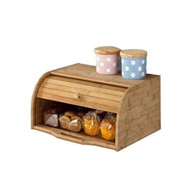 Betwoo Natural Wooden Roll Top Bread Box Kitchen Bamboo Storage Bin (Standard Size Finished)