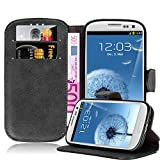 Cadorabo – Retro Book Case in Used-Look Design for Samsung Galaxy S3 (i9300) – Etui Cover Protection Pouch with Stand Function and Card Slot in FROSTED-BLACK
