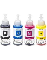 UniPlus Compatible 664 Ecotank Ink Bottle T6641 T6642 T6643 T6644 70ml Each Color Use for Epson ET-2500 ET-2550 ET-2600 ET-2650 ET-3600 ET-4500 ET-4550 ET-14000 L350 L355 L555 Printers 4-Pack