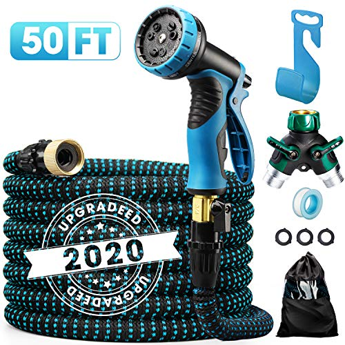 Delxo 2020 Upgrade 50FT Expandable Garden Hose Water Hose with 9-Function High-Pressure Spray Nozzle, Heavy Duty Flexible Hose, 3/4″ Solid Brass Fittings Leakproof Design