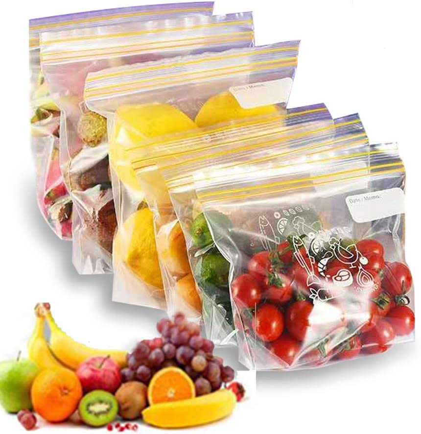 WAUOC 15 Packs Reusable Food Storage Bags Leakproof Freezer Bag PEVA Extra Thick Eco Friendly BPA Free Stand Up Ziplock Lunch Bag for Food Travel Home Organization(5L+ 5M + 5S)