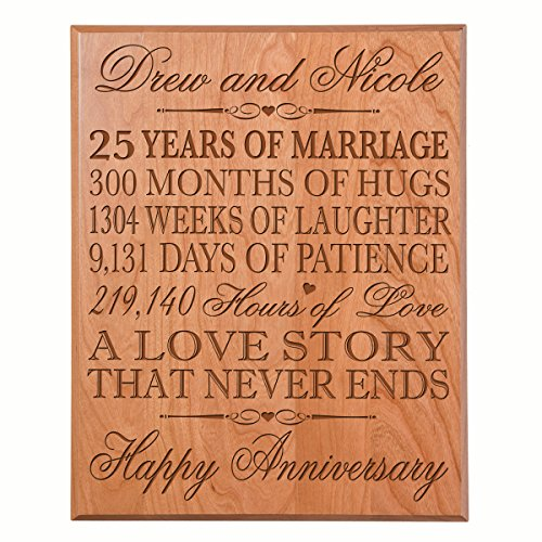 Personalized 25th Wedding Anniversary Wall Plaque Gifts for Couple, Custom Made 25th Anniversary Gifts for Her, Gifts for Him 12