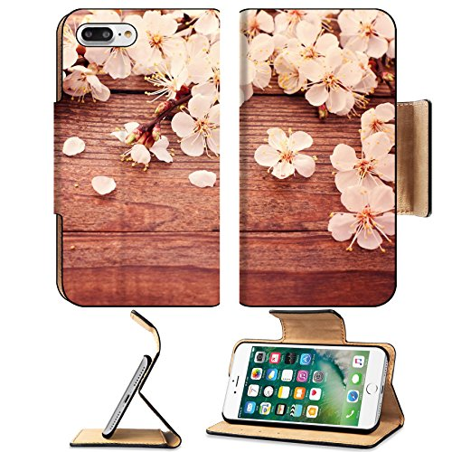 Luxlady Premium Apple iPhone 7 Plus Flip Pu Leather Wallet Case iPhone7 PLUS IMAGE ID: 27255159 Bridal bouquet of white flowers on wooden surface Summer wedding day unusual designer florist bouquet