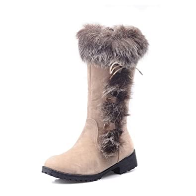 VogueZone009 Womens Closed Round Toe High Heel Platform Short Plush PU Frosted Solid Boots with Bandage