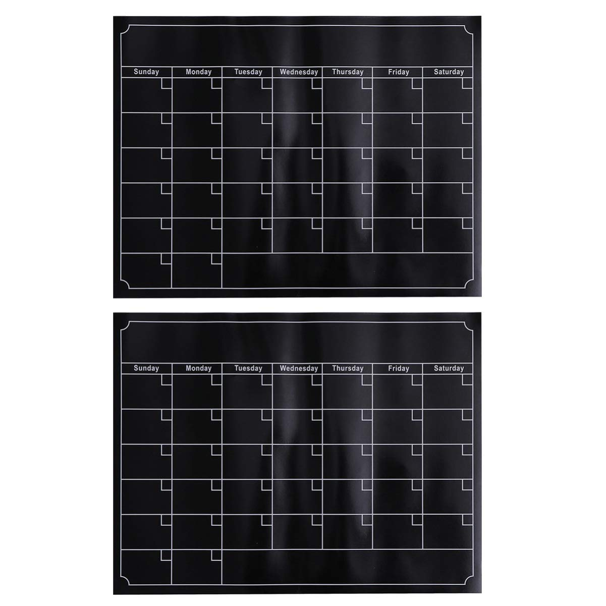 IMIKEYA 2pcs Fridge Calendar Magnetic Dry Erase Calendar Black Monthly Magnetic Calendar Whiteboard Message Board for Kitchen Refrigerator by IMIKEYA