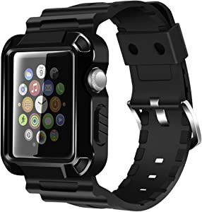 iiteeology Compatible with Apple Watch Band 42mm, Rugged Protective iWatch Case and Band Strap with Built-in Screen Protector for Apple Watch Series 3/2/1 - Black