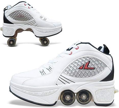 Pinkskattings@ Blanco Clásico Zapatillas con Ruedas para Caminar Automáticos Invisibles Cambiar Entre Zapatos Casuales/Patines, Cómodo Transpirable: Amazon.es: Deportes y aire libre