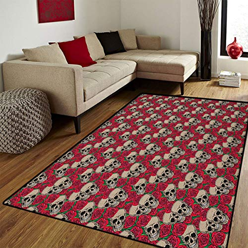 (Rose,Bath Mats Carpet,Graphic Skulls and Red Rose Blossoms Halloween Inspired Retro Gothic Pattern,Door Mat Increase,Vermilion Tan Green,6.6x10)
