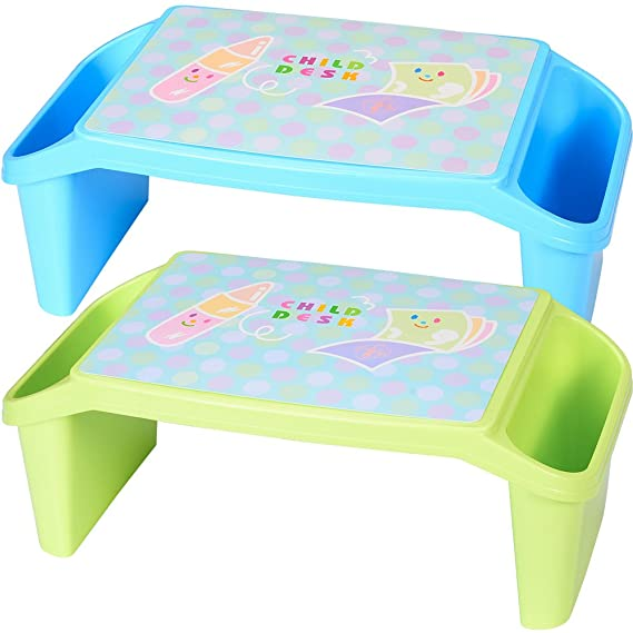 Lap Desk for Kids NNEWVANTE Storage Stackable Childrens Table for Homework or Reading Breakfast Bed Tray Blue and Light Green