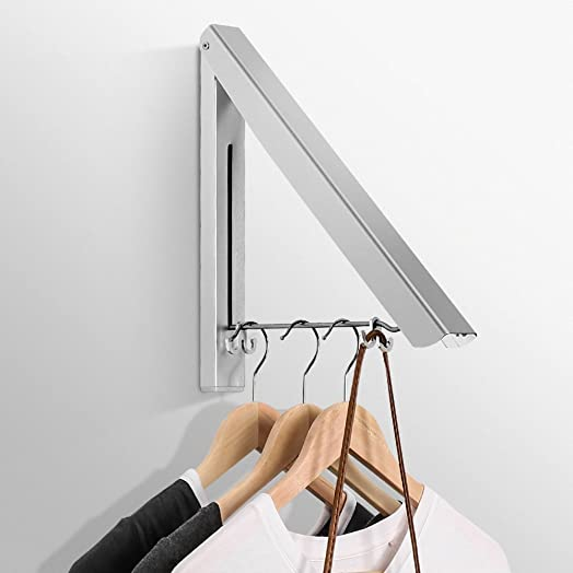 Jerrybox Retractable Clothes Hanger Racks, Adjustable Wall Mounted Aluminum  Alloy Hanging with 2 Bag Hook