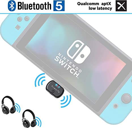 Friencity Bluetooth 5.0 Transmisor de Audio para Nintendo Switch, Wireless USB/Tipo C Adaptador Bluetooth Audífonos Bluetooth Chat en el Juego por Voz, Dual Link aptX LL, Plug and Play para TV PC: