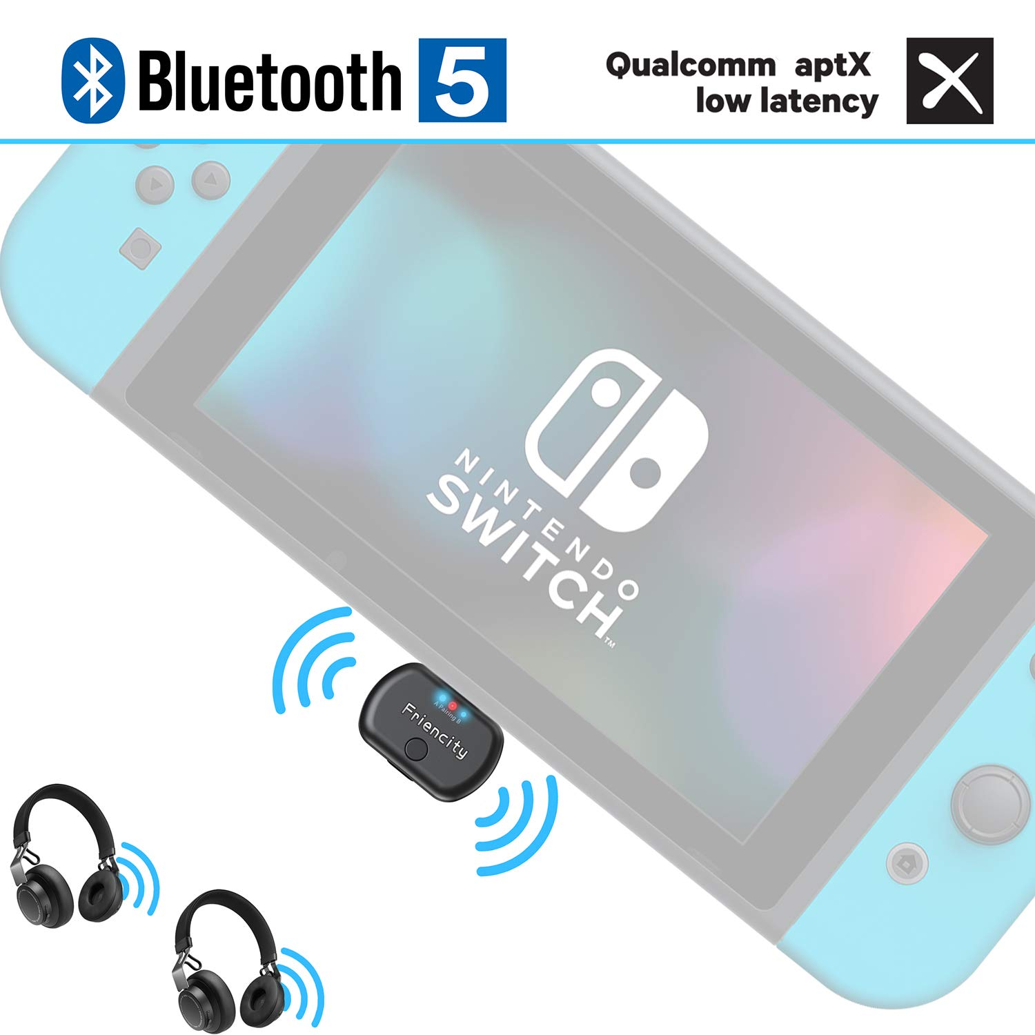 Friencity Bluetooth Audio Transmitter Adapter for Nintendo Switch PC PS4, USB C Connector Wireless Dongle Adapter Pair to Bluetooth Headphone/Speaker, in-Game Voice Chat, Dual Link aptX LL,Plug&Play by Friencity