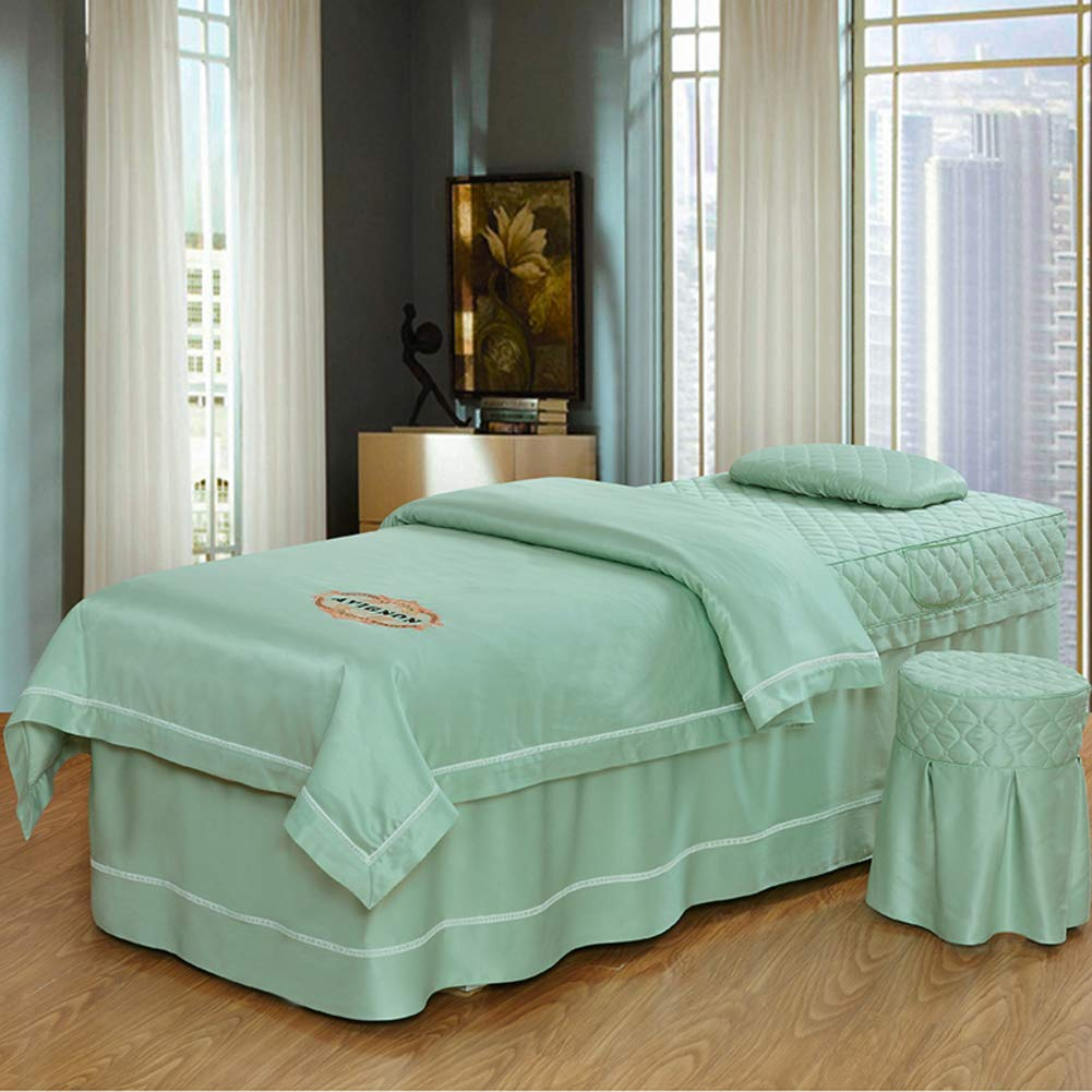 YLHJY Round Head Pure Color Silk Beauty Bed Cover 4pc Salon Spa Massage Table Sheet Sets Breathable Bed Skirt Sheet Bedspreads -H 80x190cm(31x75inch) by YLHJY