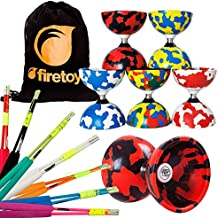 Juggle Dream Jester Bearing Diabolo Set + Superglass Fibreglass Diablo Sticks & String with Firetoys Bag! Huge Color Selection