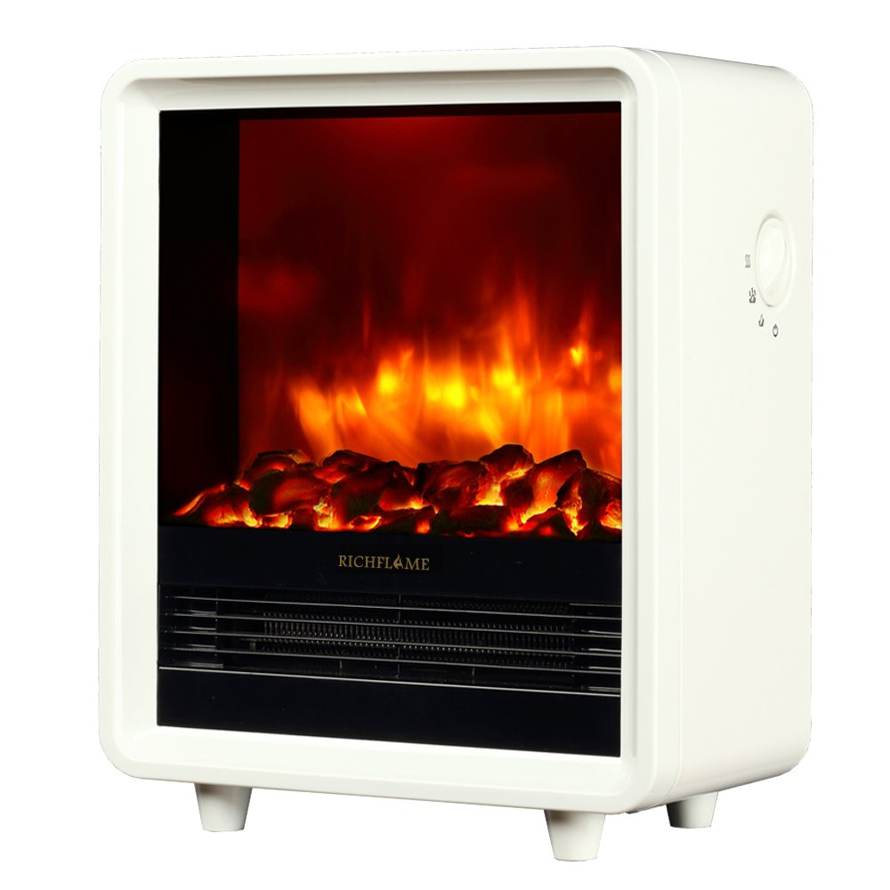 RICHFLAME Olivia 12 inch Freestanding Electric Fireplace Heater Stove, 1500W, White by RICHFLAME