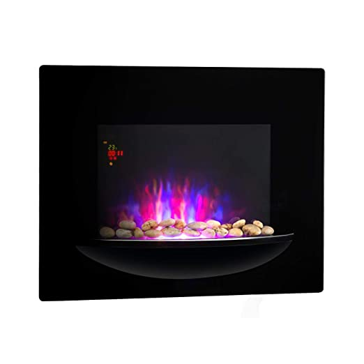 KLARSTEIN Brasero Chimenea eléctrica de Pared - 1800 W, Calefactor eléctrico, 2 Grados de Calor, Vitrocerámica, Ilusión de Llamas, Temporizador, ...