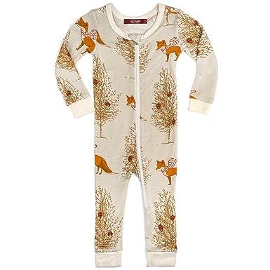 1616d4286d68 Amazon.com  MilkBarn Bamboo Christmas Zipper Pajama - Christmas Fox ...