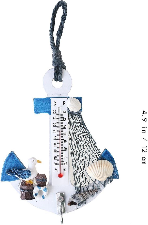 WINOMO Style de Plage /à Suspendre D/écorations Ancre Crochets muraux Mini thermom/ètre D/écor Nautique