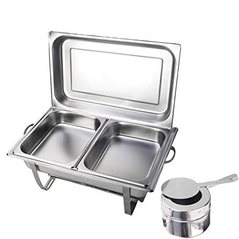 OUKANING Chafing Dish Set Professionale in Acciaio Inox, 2 X