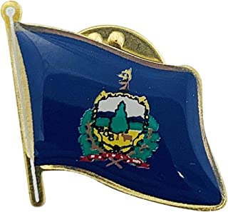 product image for Set of 12 Vermont Single Waving State Flag Lapel Pin - Made in The USA