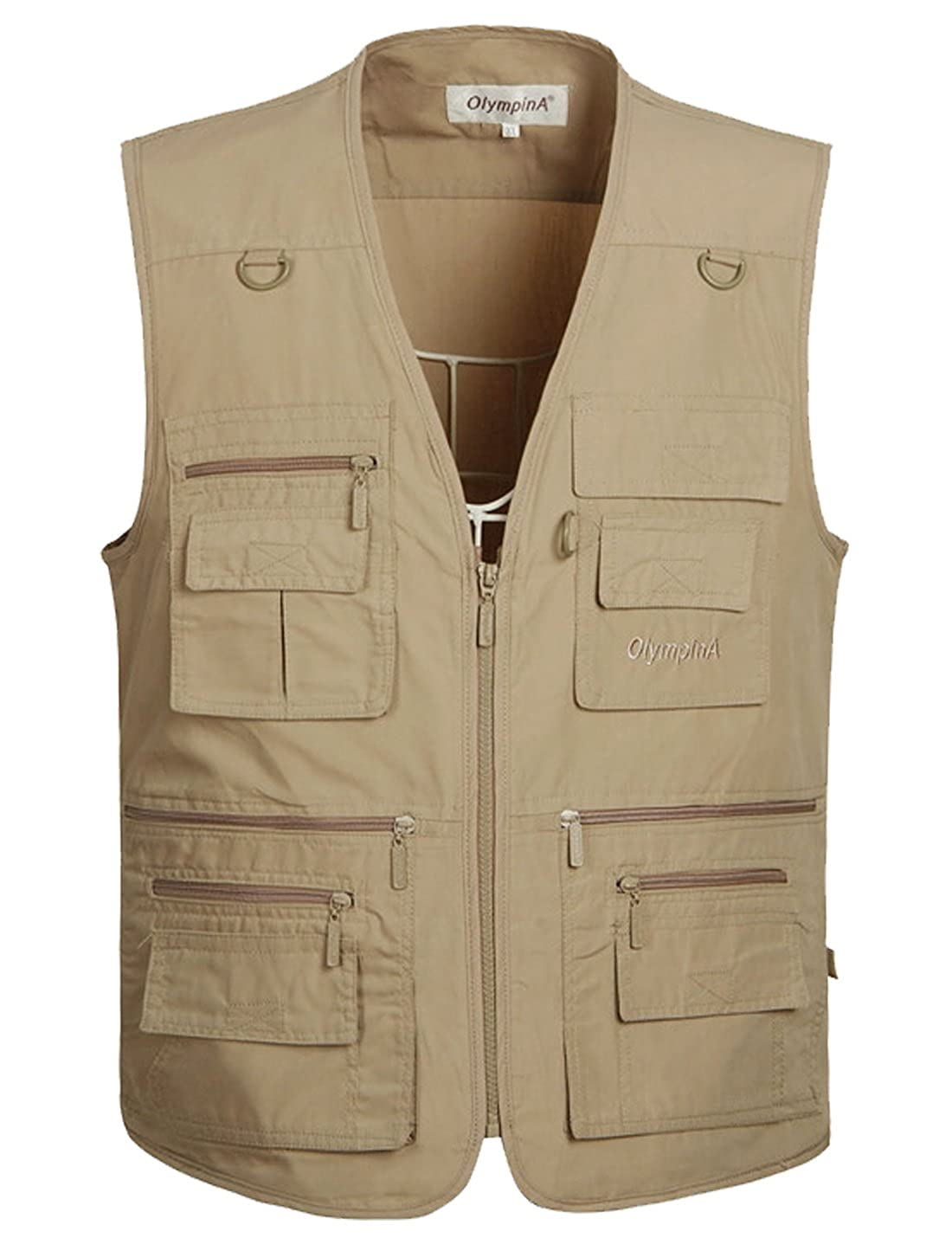 Jofemuho Men Long Sleeve Utility Button Up Cotton Pockets Shirt