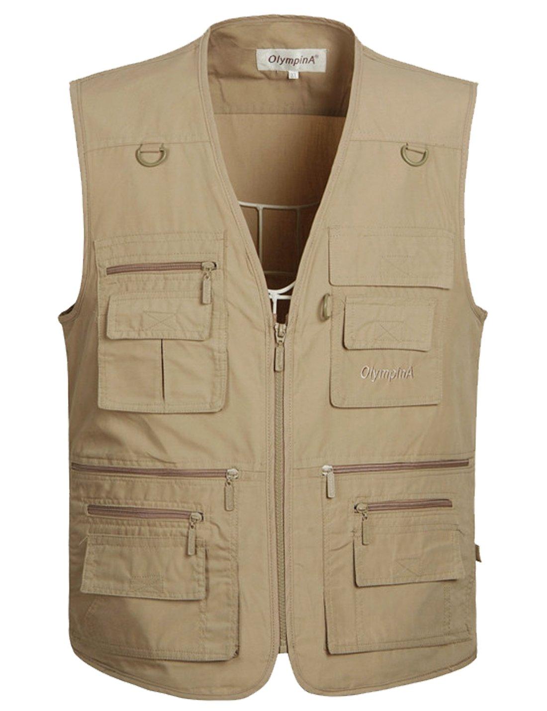 Flygo Men's Summer Casual Outdoor Utility 16 Pockets Journalist Fishing Photo Travel Vest Plus Size (Large, Khaki)