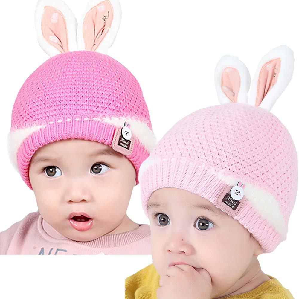 YI HENG MEI Newborn Baby Winter Warm Cute Rabbit Ears Knit Cap Beanie Photography Prop 3-12M