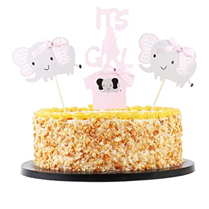 KISKISTONITE Pink Elephant Cake Topper It Is A Girl Baby Shower Birthday Party Decorations Supplies Special