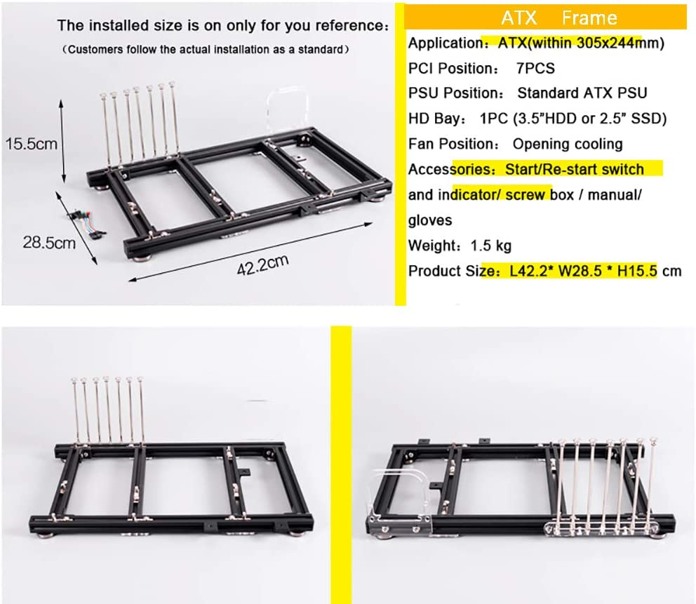 Mini ITX PC Test Bench Open Air Frame Overclock Case Computer Mount Aluminum Chassis for HTPC Graphics Card