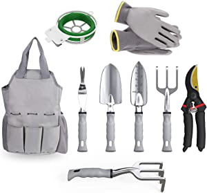 GANCHUN Garden Tools Set, 9 Pieces Stainless Steel Heavy Duty Gardening Kit Gifts with Ergonomic Handle Storage Organizer and Digging Claw Gardening Gloves Supplies Hand Tools for Men Or Women