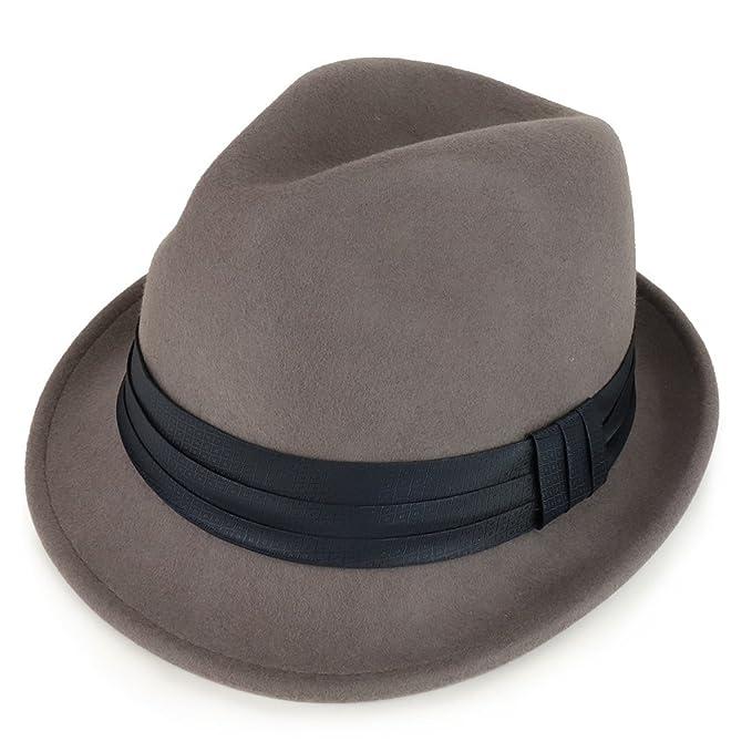 bc408e32638 XXL Big Size Wool Felt 2 Inch Brim Trilby Fedora Hat with Satin Hat Band -