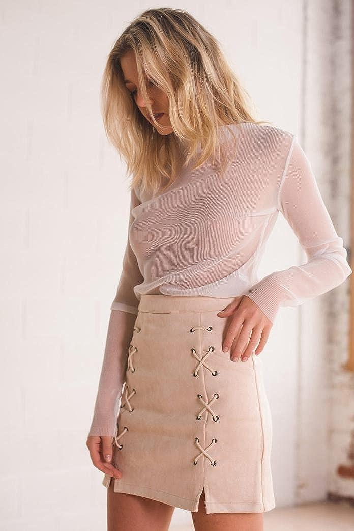 HCFKJ 2018 Style Femmes Bandage Daim Tissu Mini-Jupe Slim Seamless Stretch Jupe Courte d/ét/é Solide Occasionnel Chic R/étro Casual Minijupe