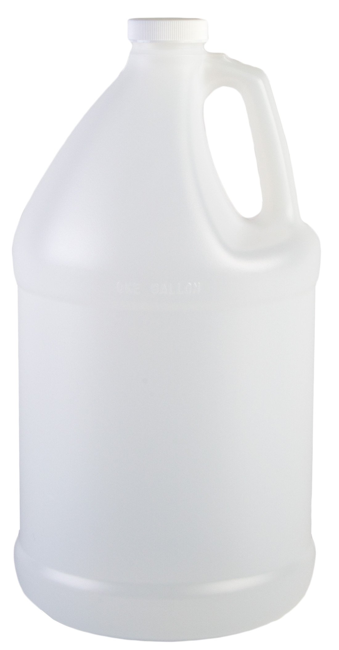 Hudson Exchange 1 Gallon Round Plastic Jug with Cap, HDPE, Natural, 4 Pack