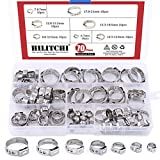 #10: Hilitchi 70pcs Stainless Steel Single Ear Hose Clamps Kit