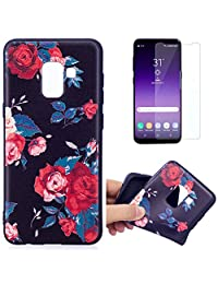 For Samsung Galaxy A8 2018 A530 Case and Screen Protector,OYIME Luxury [Red Rose] Relief Pattern Design Black Silicone Rubber Ultra Thin Slim Fit Bumper Drop Protection Anti-Scratch Protective Back Cover