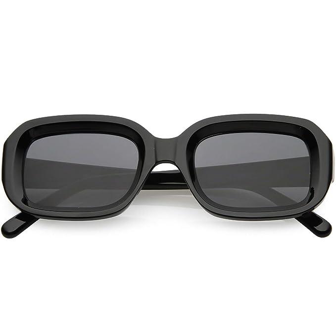 d36019c611 sunglassLA - Retro Chunky Square Sunglasses For Women Wide Arms Square Lens  50mm (Black