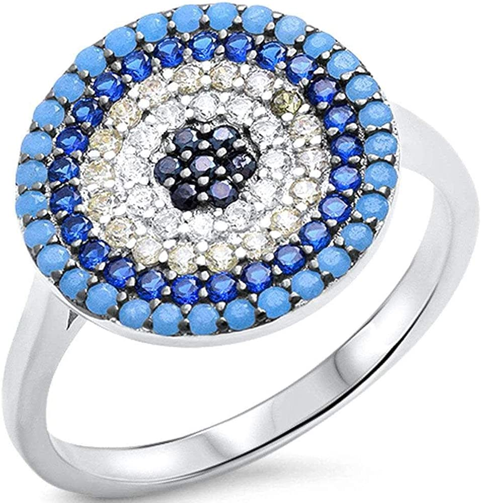 Princess Kylie Multi-Color Cubic Zirconia Rounded Disc Ring Sterling Silver