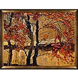 overstockArt Kopania Autumn Tree Canvas with Athenian Gold Frame, Antique