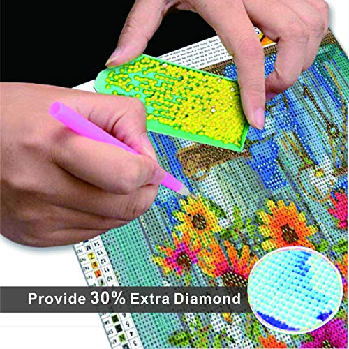 DIY 5D Diamond Painting,Diamond Art Kits for Adults and Kids,Flower Diamond Paintings Full Drill Round Gem Art Craft Perfet for Gift and Home Wall Decor,Easy for Beginners 12x16inch