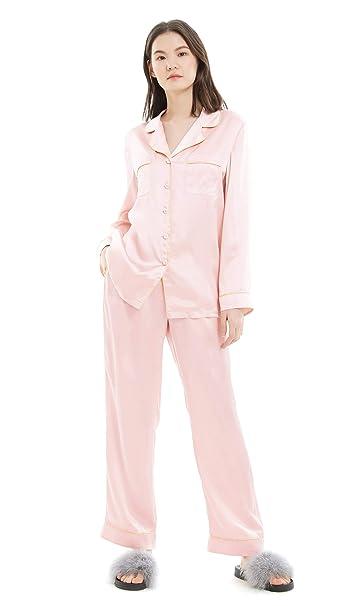 c1ec126492 LilySilk Seiden Damenpyjama Schlafanzug Set Nachtwäsche Damen aus 22 Momme  Verpackung MEHRWEG Hell Rosa XS